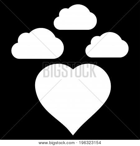 Cloudy Love Heart flat icon. Vector white symbol. Pictogram is isolated on a black background. Trendy flat style illustration for web site design, logo, ads, apps, user interface.