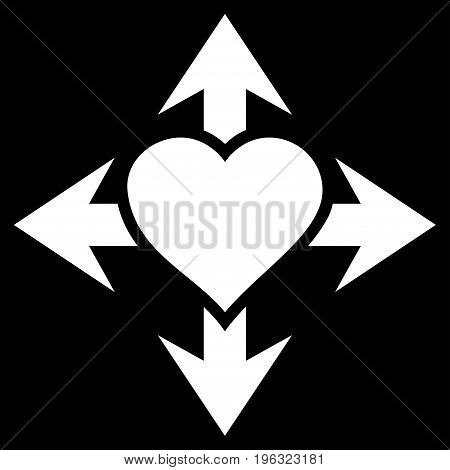 Expand Love Heart flat icon. Vector white symbol. Pictograph is isolated on a black background. Trendy flat style illustration for web site design, logo, ads, apps, user interface.