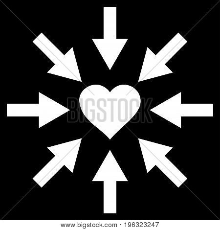 Impact Love Heart flat icon. Vector white symbol. Pictograph is isolated on a black background. Trendy flat style illustration for web site design, logo, ads, apps, user interface.