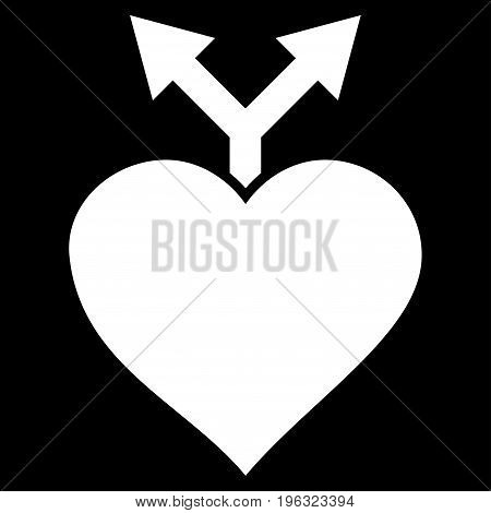 Love Variants flat icon. Vector white symbol. Pictograph is isolated on a black background. Trendy flat style illustration for web site design, logo, ads, apps, user interface.