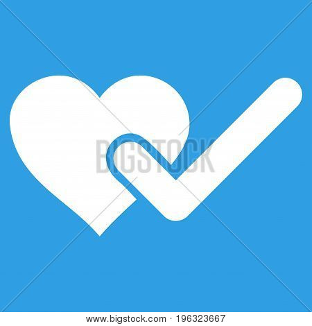 Checked Love Heart flat icon. Vector white symbol. Pictograph is isolated on a blue background. Trendy flat style illustration for web site design, logo, ads, apps, user interface.
