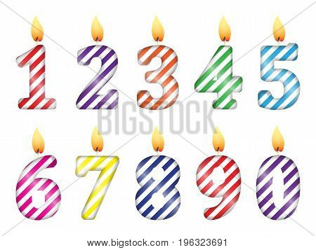 setset of numbers in the form of party candles of numbers in the form of party candles