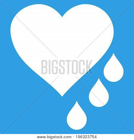 Heart Blood Drops flat icon. Vector white symbol. Pictograph is isolated on a blue background. Trendy flat style illustration for web site design, logo, ads, apps, user interface.
