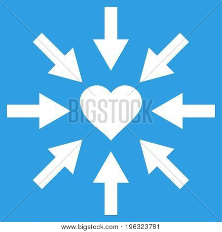 Impact Love Heart flat icon. Vector white symbol. Pictograph is isolated on a blue background. Trendy flat style illustration for web site design, logo, ads, apps, user interface.