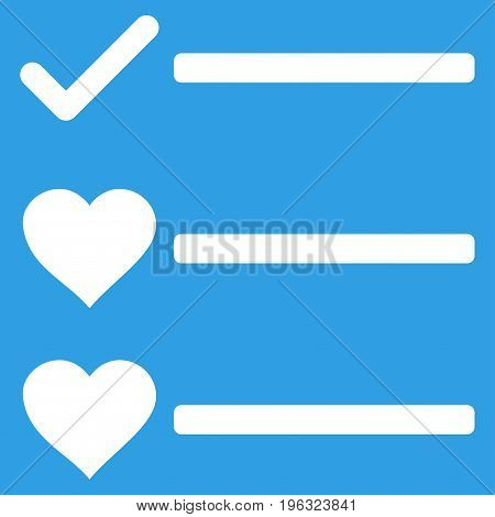 Love List flat icon. Vector white symbol. Pictograph is isolated on a blue background. Trendy flat style illustration for web site design, logo, ads, apps, user interface.