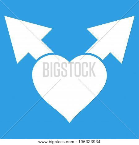 Love Variant Arrows flat icon. Vector white symbol. Pictograph is isolated on a blue background. Trendy flat style illustration for web site design, logo, ads, apps, user interface.