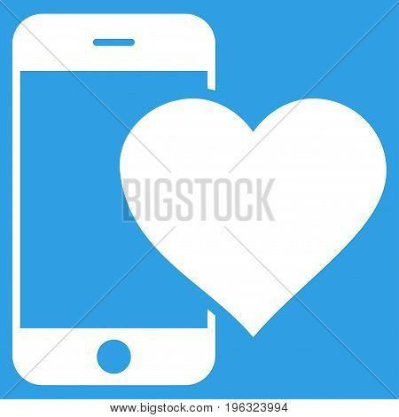 Lovely Smartphone flat icon. Vector white symbol. Pictogram is isolated on a blue background. Trendy flat style illustration for web site design, logo, ads, apps, user interface.