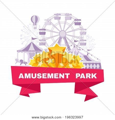 Amusement park banner  with different carousels swings and ferris wheel. Vector illustration