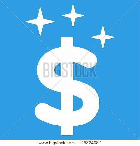 Sparkle Dollar Symbol flat icon. Vector white symbol. Pictogram is isolated on a blue background. Trendy flat style illustration for web site design, logo, ads, apps, user interface.