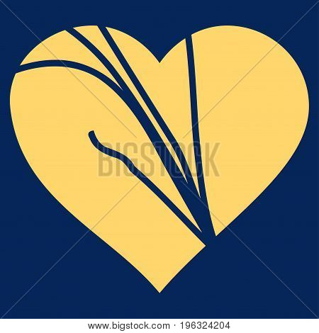 Damaged Love Heart flat icon. Vector yellow symbol. Pictogram is isolated on a blue background. Trendy flat style illustration for web site design, logo, ads, apps, user interface.