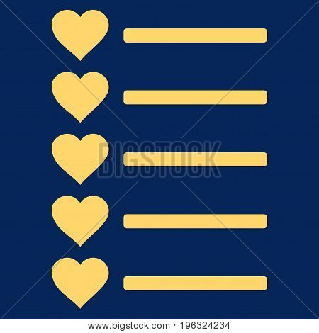 Favourites List flat icon. Vector yellow symbol. Pictograph is isolated on a blue background. Trendy flat style illustration for web site design, logo, ads, apps, user interface.