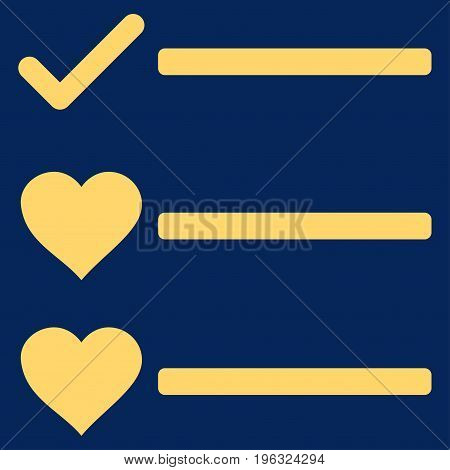 Love List flat icon. Vector yellow symbol. Pictogram is isolated on a blue background. Trendy flat style illustration for web site design, logo, ads, apps, user interface.