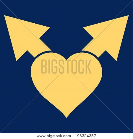 Love Variant Arrows flat icon. Vector yellow symbol. Pictograph is isolated on a blue background. Trendy flat style illustration for web site design, logo, ads, apps, user interface.