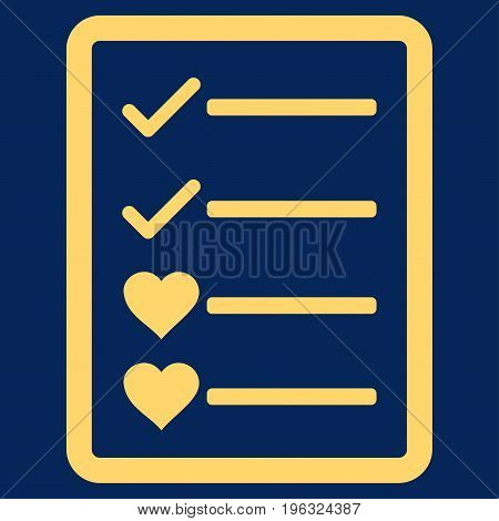 Lovely List Page flat icon. Vector yellow symbol. Pictograph is isolated on a blue background. Trendy flat style illustration for web site design, logo, ads, apps, user interface.