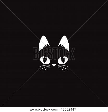 Simple cartoon cat icon on a black background. Vector Illustration.