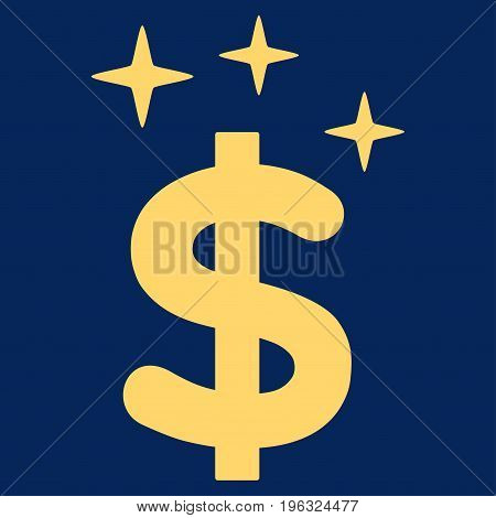 Sparkle Dollar Symbol flat icon. Vector yellow symbol. Pictogram is isolated on a blue background. Trendy flat style illustration for web site design, logo, ads, apps, user interface.