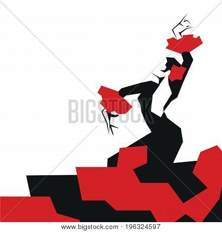 Flamenco Dancer in expressive impressive pose. Minimalistic graphic in laconic edged geometric shapes.