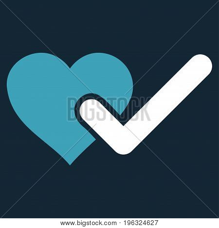 Checked Love Heart flat icon. Vector bicolor blue and white symbol. Pictograph is isolated on a dark blue background. Trendy flat style illustration for web site design, logo, ads, apps,