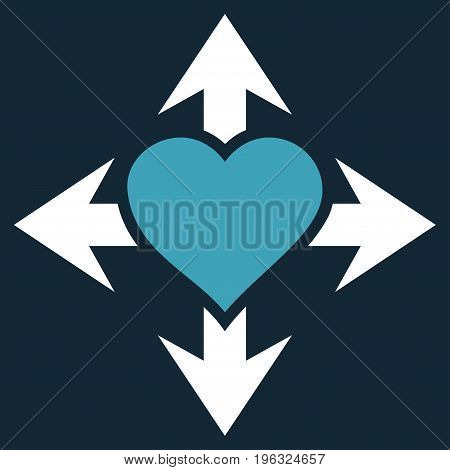 Expand Love Heart flat icon. Vector bicolor blue and white symbol. Pictograph is isolated on a dark blue background. Trendy flat style illustration for web site design, logo, ads, apps,