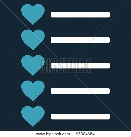 Favourites List flat icon. Vector bicolor blue and white symbol. Pictograph is isolated on a dark blue background. Trendy flat style illustration for web site design, logo, ads, apps, user interface.