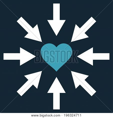 Impact Love Heart flat icon. Vector bicolor blue and white symbol. Pictogram is isolated on a dark blue background. Trendy flat style illustration for web site design, logo, ads, apps, user interface.