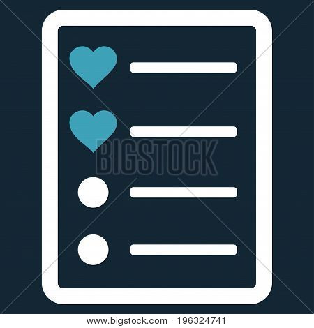 Love List Page flat icon. Vector bicolor blue and white symbol. Pictograph is isolated on a dark blue background. Trendy flat style illustration for web site design, logo, ads, apps, user interface.