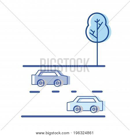 cars transportation in the double via road and tree vector illustration