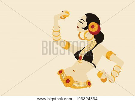 Tribal belly dancer holding cymbals in impressive expressive pose. Laconic minimalistic shapes geometric graphic design. Designed for placard, poster, affiche, flyer, card