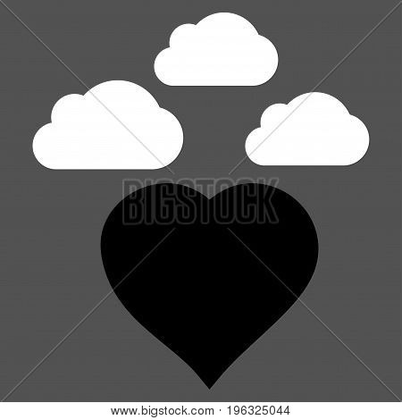 Cloudy Love Heart flat icon. Vector bicolor black and white symbol. Pictograph is isolated on a gray background. Trendy flat style illustration for web site design, logo, ads, apps, user interface.