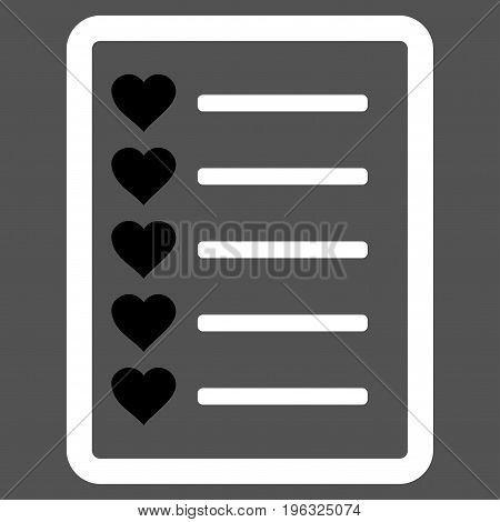 Favourites List Page flat icon. Vector bicolor black and white symbol. Pictograph is isolated on a gray background. Trendy flat style illustration for web site design, logo, ads, apps, user interface.