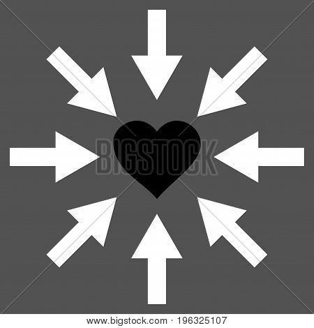 Impact Love Heart flat icon. Vector bicolor black and white symbol. Pictogram is isolated on a gray background. Trendy flat style illustration for web site design, logo, ads, apps, user interface.