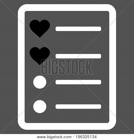 Love List Page flat icon. Vector bicolor black and white symbol. Pictograph is isolated on a gray background. Trendy flat style illustration for web site design, logo, ads, apps, user interface.