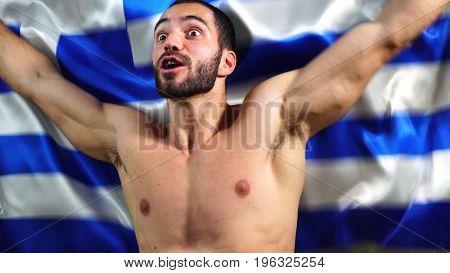 Muscular Greek Man Waving Greece Flag
