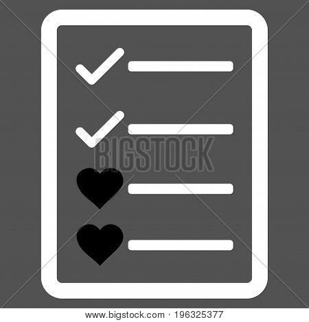 Lovely List Page flat icon. Vector bicolor black and white symbol. Pictogram is isolated on a gray background. Trendy flat style illustration for web site design, logo, ads, apps, user interface.