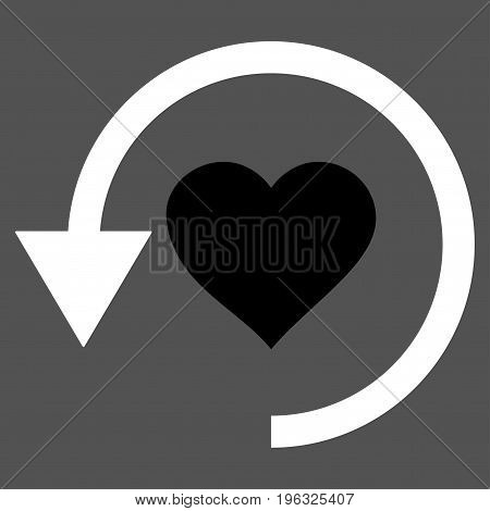 Refresh Love flat icon. Vector bicolor black and white symbol. Pictogram is isolated on a gray background. Trendy flat style illustration for web site design, logo, ads, apps, user interface.