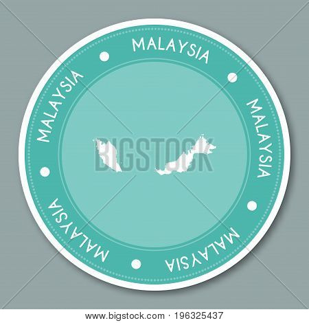 Malaysia Label Flat Sticker Design. Patriotic Country Map Round Lable. Country Sticker Vector Illust