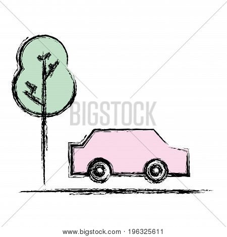 car transportation in the road via with tree vector illustration