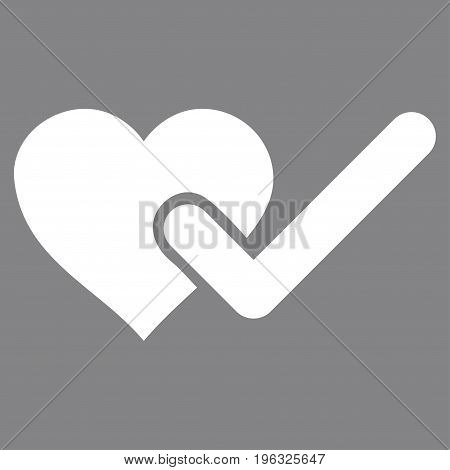 Checked Love Heart flat icon. Vector white symbol. Pictogram is isolated on a gray background. Trendy flat style illustration for web site design, logo, ads, apps, user interface.