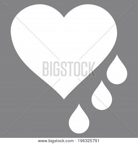 Heart Blood Drops flat icon. Vector white symbol. Pictogram is isolated on a gray background. Trendy flat style illustration for web site design, logo, ads, apps, user interface.