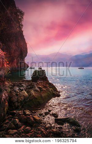 Romantic Sunset Mood At Garda Lake