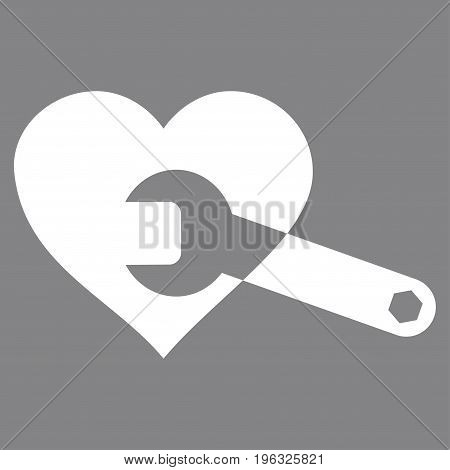 Heart Surgery Wrench flat icon. Vector white symbol. Pictograph is isolated on a gray background. Trendy flat style illustration for web site design, logo, ads, apps, user interface.