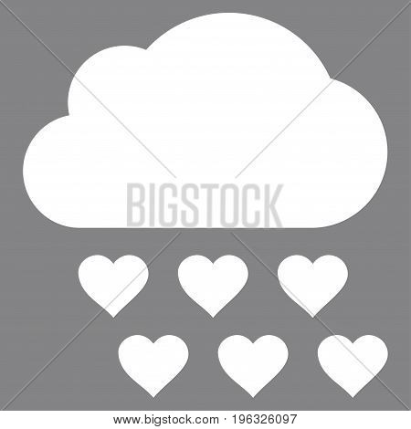 Love Rain Cloud flat icon. Vector white symbol. Pictograph is isolated on a gray background. Trendy flat style illustration for web site design, logo, ads, apps, user interface.
