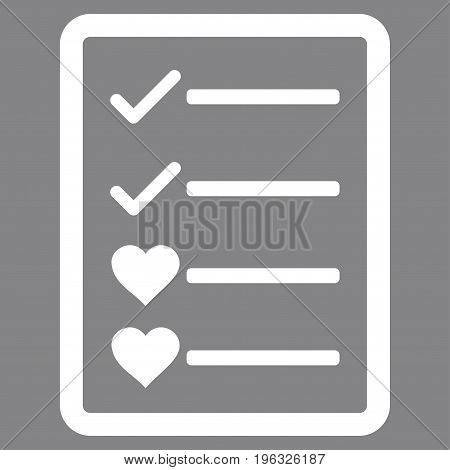 Lovely List Page flat icon. Vector white symbol. Pictogram is isolated on a gray background. Trendy flat style illustration for web site design, logo, ads, apps, user interface.
