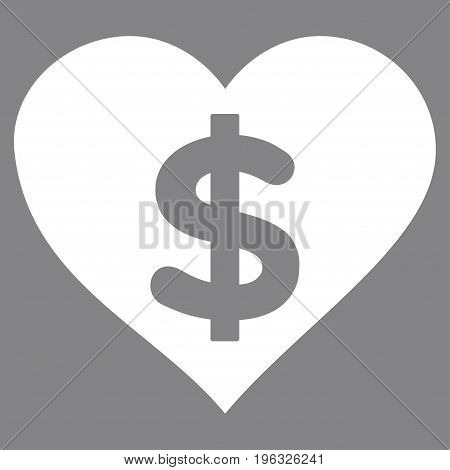 Paid Love flat icon. Vector white symbol. Pictograph is isolated on a gray background. Trendy flat style illustration for web site design, logo, ads, apps, user interface.