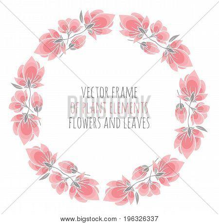 round frame of delicate pink sakura cherry blossoms - vector illustration for design