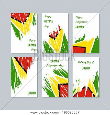 Guyana Patriotic Cards For National Day. Expressive Brush Stroke In National Flag Colors On White Ca
