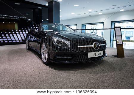 BERLIN - JANUARY 24 2015: Sports car Mercedes-Benz SL500 (R231). Produced since 2012.