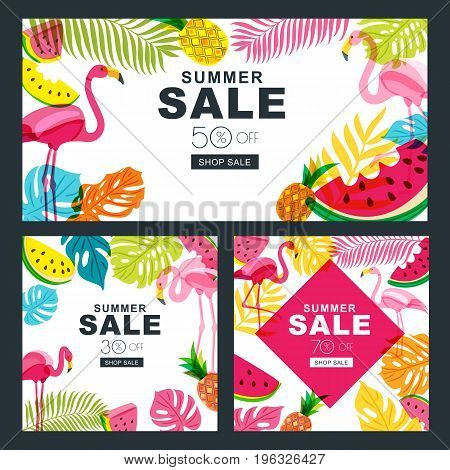 Summer Sale Vector Banners Set With Multicolor Palm Leaves, Flamingo, Watermelon And Pineapples.