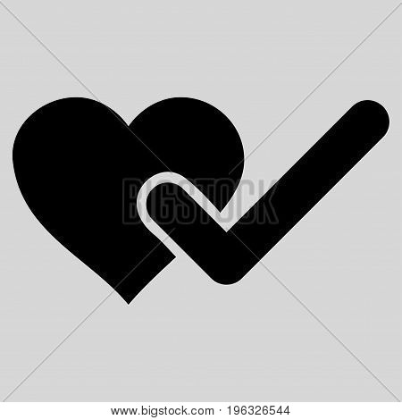 Checked Love Heart flat icon. Vector black symbol. Pictogram is isolated on a light gray background. Trendy flat style illustration for web site design, logo, ads, apps, user interface.