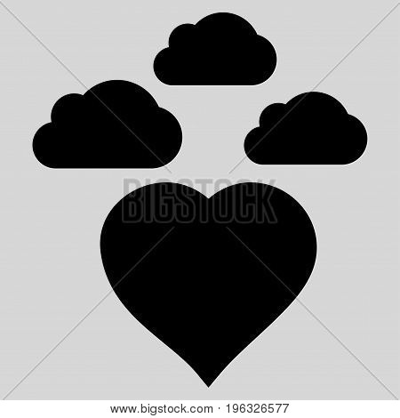 Cloudy Love Heart flat icon. Vector black symbol. Pictogram is isolated on a light gray background. Trendy flat style illustration for web site design, logo, ads, apps, user interface.